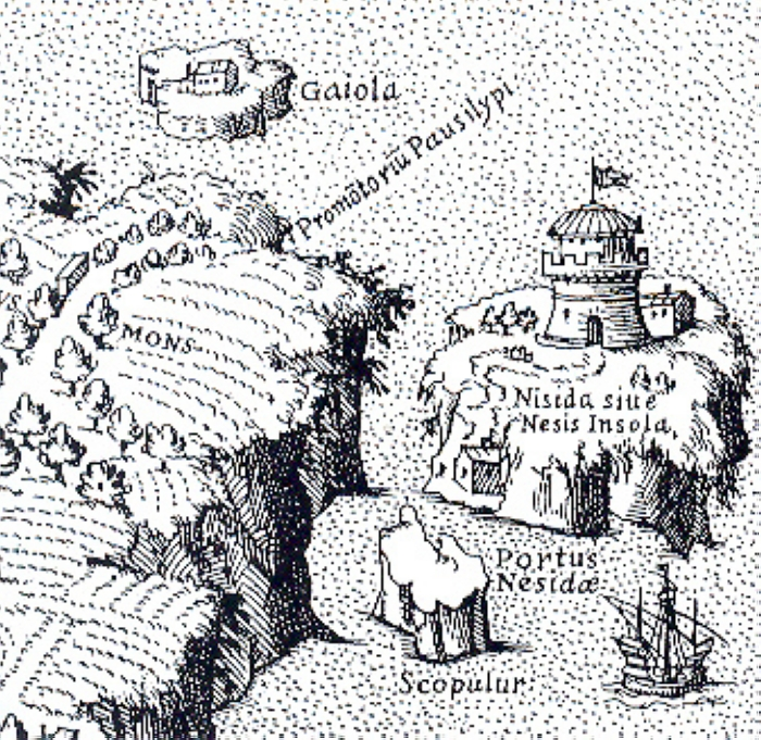 L'isola di Nisida in una veduta di Francisco Villamena (1652)